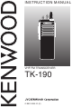 Kenwood TK-190 Instruction Manual