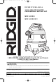 RIDGID WD14500 Owner's Manual