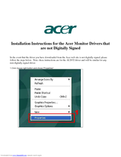 Acer AL2032 Installation Instructions Manual