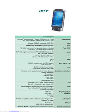Acer N300 Series Specification Sheet