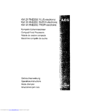AEG Finesse Profi KM 41 Operating Instructions Manual