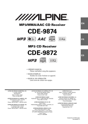 alpine cde 9874 manuals rh manualslib com Alpine Truck Receiver Alpine CD Receiver CDE- 9843