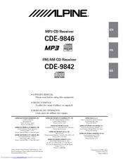 Alpine CDE-9846 Manuals