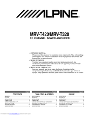 Alpine MRV-T320 Owner's Manual