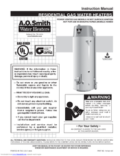 A.O. Smith RESIDENTIAL GAS WATER HEATER Instruction Manual