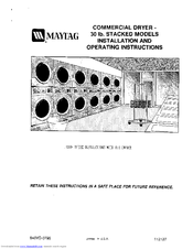 Maytag 30 lb. Stacked Models Installation And Operating Instructions Manual