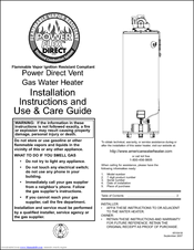 american water heater power flex 40 42k btu manuals rh manualslib com american water heater specs american standard tankless water heater manual