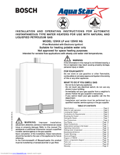 Bosch AquaStar 125HX LP Installation And Operating Instructions Manual
