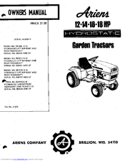 Ariens 931018 S-16 Manuals on