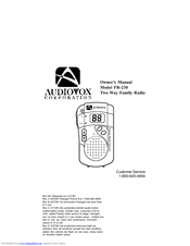 Audiovox FR-230 Owner's Manual