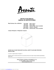 avanti shp1701b manuals