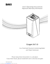 Baxi ECOGEN 24/1.0 User Operating Instructions Manual