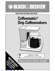Black & Decker Coffeematic DCM94WH Use And Care Book Manual