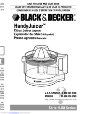 Black & Decker HandyJuicer HJ28 Series Use And Care Book Manual
