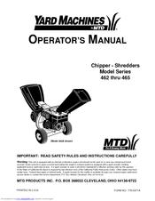 Yard Machines 462 Thru 465 Operator S