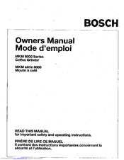 Bosch MKM 6000 Series Owner's Manual