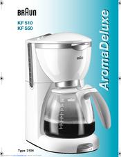 Braun Aroma Deluxe Coffee Maker : Braun Aroma Deluxe KF 550 Manuals