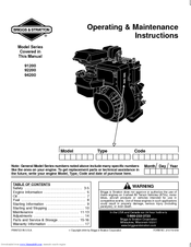 Briggs Amp Stratton 91200 Series Manuals