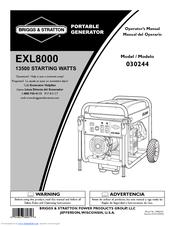 briggs stratton exl8000 030244 02 manuals rh manualslib com EXL8000 Generator User Manual Briggs and Stratton Manuals PDF