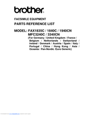 Brother MFC MFC-3340CN Parts Reference List