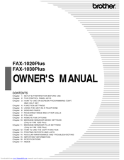 Brother 1030e - FAX B/W Thermal Transfer Owner's Manual
