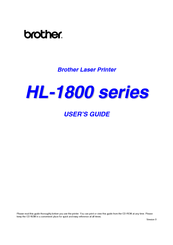 Brother 1870N - HL B/W Laser Printer User Manual