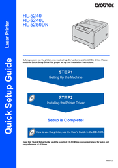 Brother 5250DN - B/W Laser Printer Quick Setup Manual