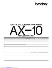 Brother AX-10 Instruction Manual