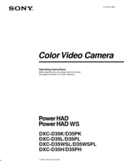 Sony PowerHAD Operating Instructions Manual