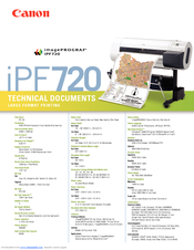 Canon iPF720 - imagePROGRAF Color Inkjet Printer Specification Sheet