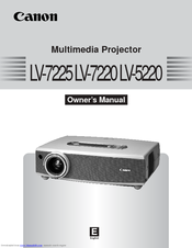 Canon LV-7225 - LCD Multimedia Projector XGA Owner's Manual