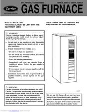 Carrier Gas Furnace 58mxa Manuals