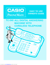 Casio PhoneMate TC-540 Owner's Manual