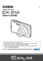 Casio EX S12 - EXILIM CARD Digital Camera User Manual