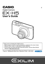 Casio EX-H5SR Manuals