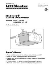 Chamberlain Liftmaster Security 2265c 1 2 Hp Manuals