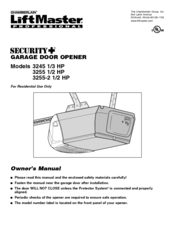 Chamberlain 3245 1 3 Hp Owner S Manual