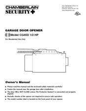 chamberlain garage door opener cg40d 1 2 hp owner s manual pdf download