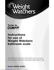 Conair WEIGHT WATCHERS BATHROOM SCALE WW66 Manuals