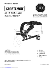 Craftsman CHIP-N-VAC 486.24517 Operator's Manual
