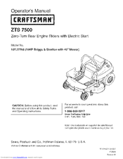 Craftsman 107.27768 19HP Briggs Stratton with 42 Mower Operator's Manual