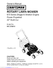 craftsman 37061 owner s manual pdf download rh manualslib com craftsman briggs and stratton 675 series lawn mower manual craftsman lawn mower owner's manual 675 series