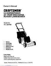 craftsman 6 0 horsepower 22 rear discharge rotary lawn mower rh manualslib com Craftsman Lawn Mower 917 Manual craftsman 6.0 gold lawn mower parts