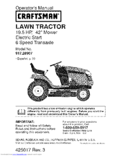 craftsman 28907 lt 2000 19 5 hp 42 lawn tractor manuals rh manualslib com craftsman lt2000 manual download craftsman lt2000 manual oil type