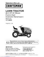 craftsman 28990 yt 4500 26 hp 54 yard tractor manuals rh manualslib com craftsman ys 4500 owner's manual pdf craftsman ys 4500 service manual
