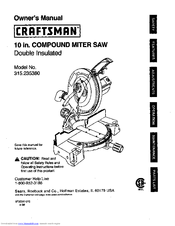 craftsman 10 in compound miter saw 315 23538 manuals Craftsman Miter Saw Manual PDF craftsman 10 inch compound miter saw model 315 manual