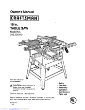 Craftsman 10 IN. TABLE SAW 315.22811 Owner's Manual