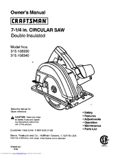 craftsman 10865 7 1 4 in circular saw manuals rh manualslib com craftsman circular saw 315 manual craftsman evolv circular saw manual