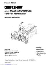 craftsman 40 2 stage snow thrower tractor attachment 486 2484 rh manualslib com Craftsman Snowblower Attachment Parts Craftsman LT2000 Snowblower Attachment