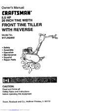 Craftsman Front Tine Tiller With Reverse 917 292402 Owner S Manual